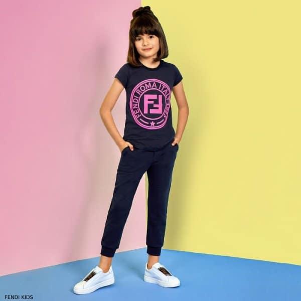 Fendi Special Edition Girls Navy Blue Cotton FF Logo T-Shirt Jogger Pants