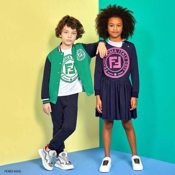 Fendi Special Edition Green FF Logo Bomber Jacket Fendi Girls Blue Pink FF Logo Dress