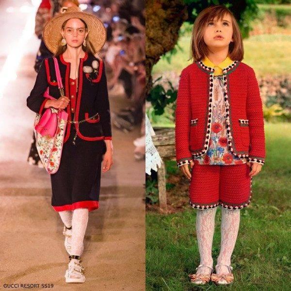 Gucci Girl Mini Me Red Cotton Crochet Cardigan & Shorts