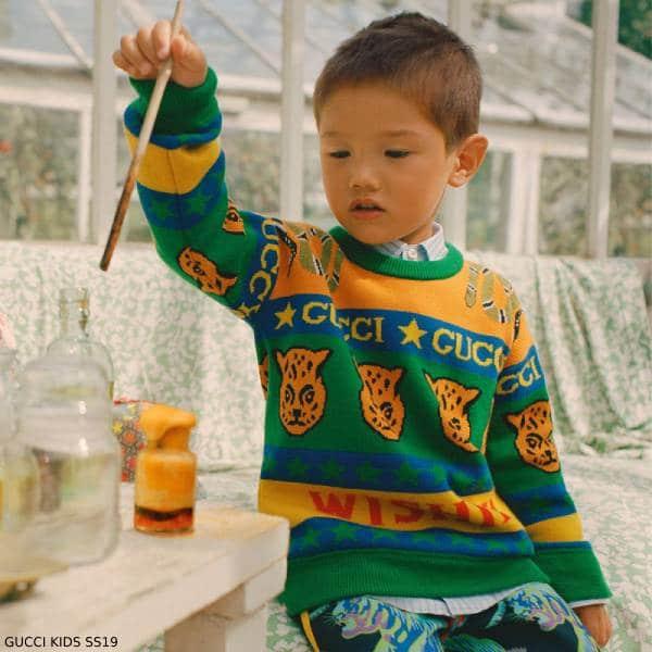 Gucci Boys Mini Me Green Tiger Wishify Sweater