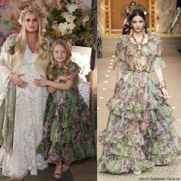 Jessica Simpson Daughter Maxwell Baby Shower Dolce Gabbana Green Floral Silk Dress