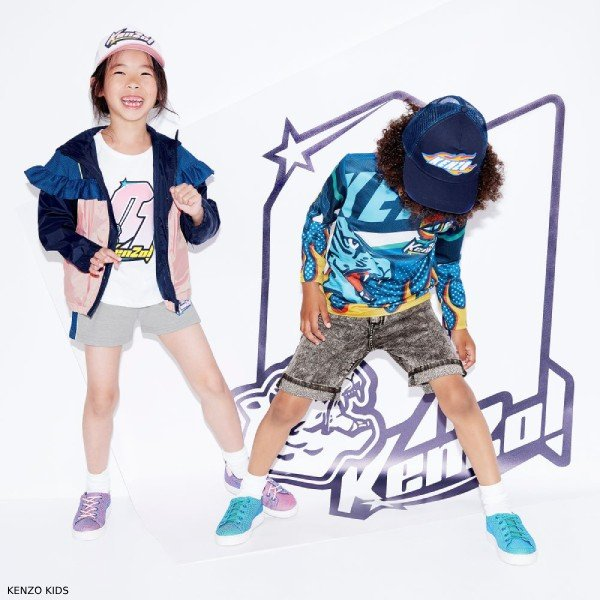 Kenzo Kids Boys Blue Racing Badge Print Shirt & Girls Pink Blue Showerproof Jacket