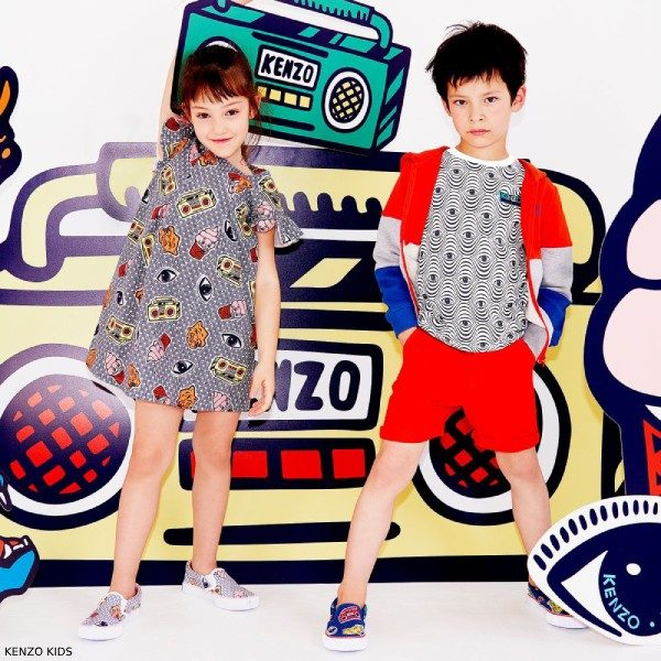 Kenzo Kids Cotton ICONIC PRINT Dress Boys Cotton Eyes T-Shirt