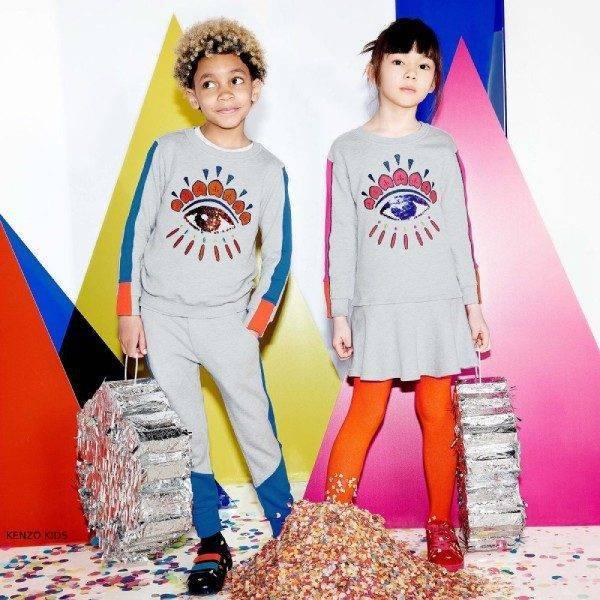 Kenzo Kids Exclusive Edition Sequin Eye Cotton Dress & Sweatshirt