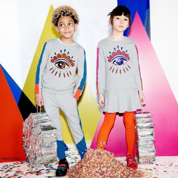 Kenzo Kids Exclusive Edition Sequin Eye Cotton Dress & Sweatshirt