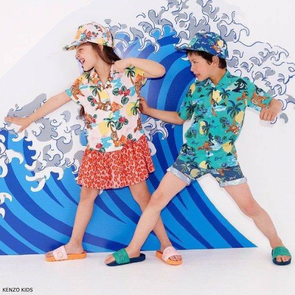 Kenzo Kids Girls Pink HAWAII Dress & Boys Green HAWAII Shirt