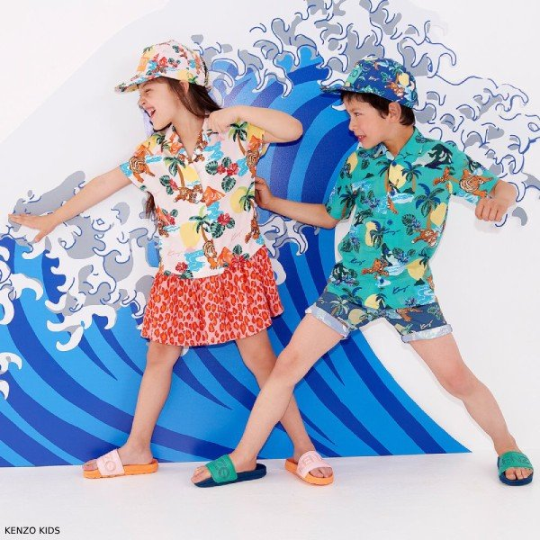 Kenzo Kids Girls Pink HAWAII Dress & Boys Green HAWAII Shirt