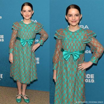 McKenna Grace Sundance Film Festival Gucci Green & Orange GG Tulle Dress