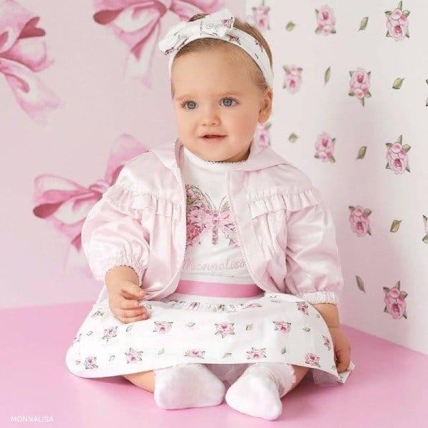 Monnalisa Bebe Girls White Butterfly T-Shirt & Floral Skirt