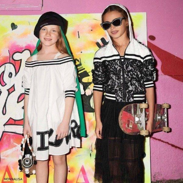 Monnalisa Girls Black & White Lace Bomber Jacket & Dress Pants
