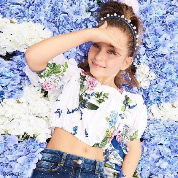 Monnalisa Chic Girls White Cropped Floral Print Blouse