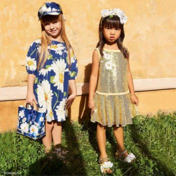 Monnalisa Girls Gold Sequinned Dress & Blue Daisy Dress
