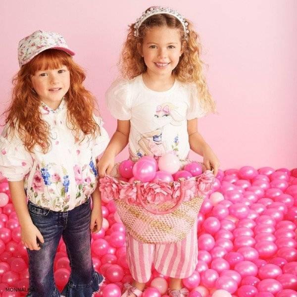 Monnalisa Girls White Floral Print Jacket & Ivory Lola Bunny Print T-Shirt
