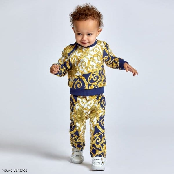 YOUNG VERSACE BABY BOYS YELLOW & BLUE BAROQUE PRINT SWEATSHIRT & PANTS