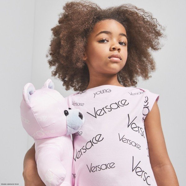 YOUNG VERSACE GIRLS PINK LOGO T-SHIRT & LEGGINGS