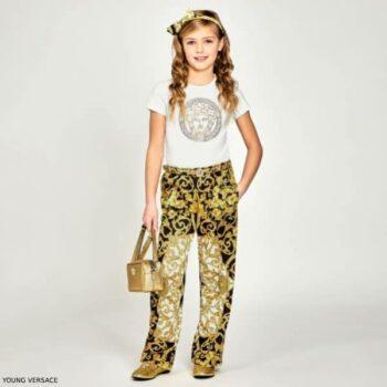 Young Versace Girls White Medusa Tshirt Gold BAROQUE Print Pants