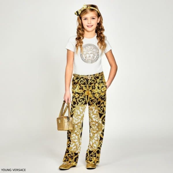 YOUNG VERSACE GIRLS WHITE MEDUSA T-SHIRT & GOLD BAROQUE PRINT PANTS