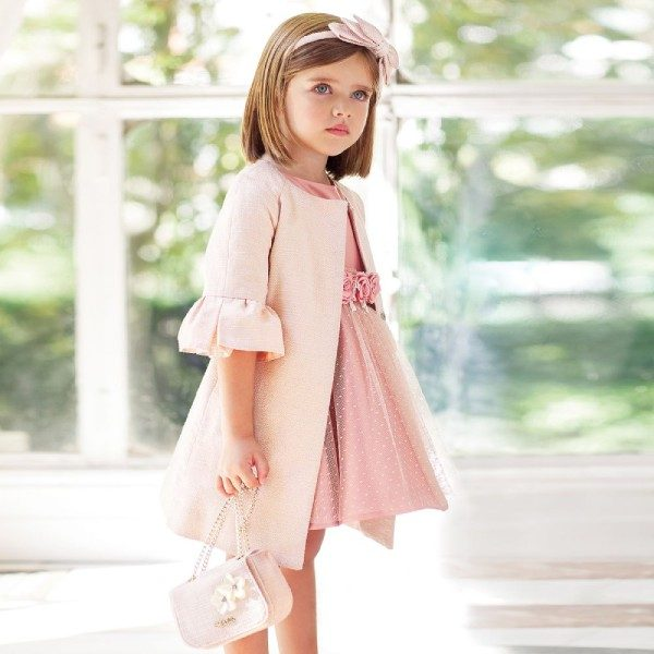 Abel & Lula Girls Pink Satin & Tulle Party Dress