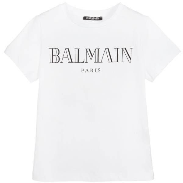 Balmain Boys White Cotton T-Shirt