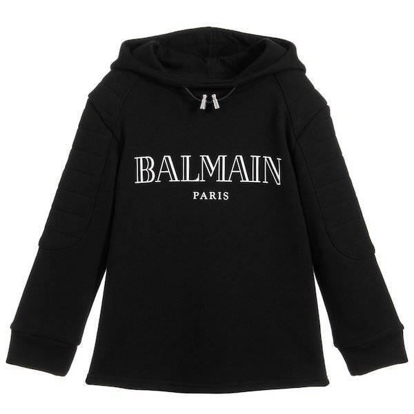 Balmain Kids Unisex Mini Me Black Cotton Sweatshirt