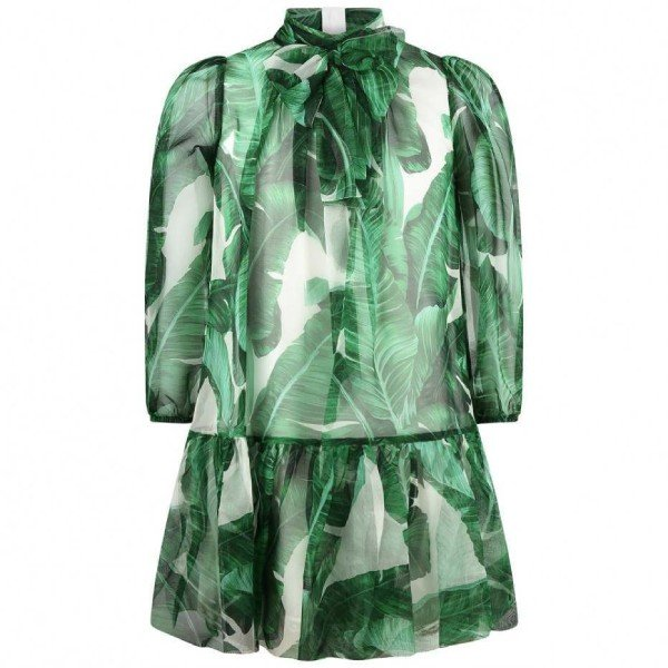 DOLCE & GABBANA GIRLS MINI ME GREEN BANANA LEAF PRINT CHIFFON DRESS