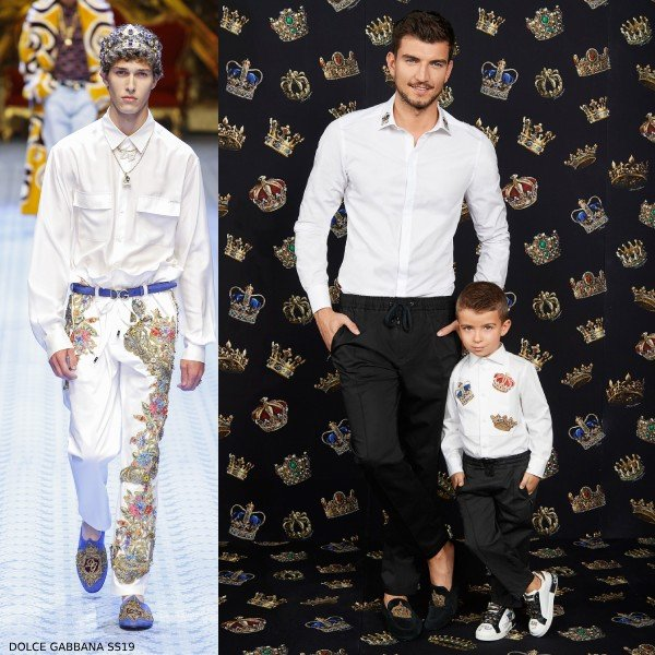 DOLCE & GABBANA BOYS MINI ME WHITE KING TUXEDO SHIRT & Crown Pants
