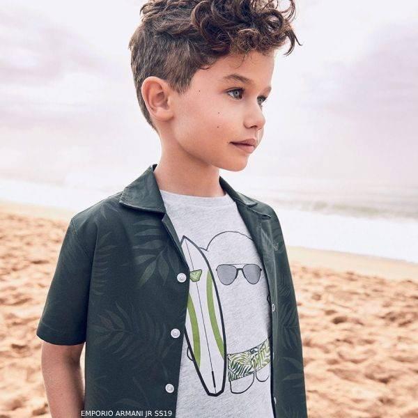 Emporio Armani Boys Grey MANGA BEAR Surfer T-Shirt Spring 2019