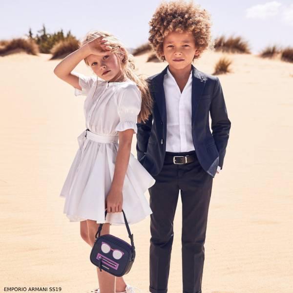 Emporio Armani Boys Navy Blue Suit Girls White Dress Spring 2019