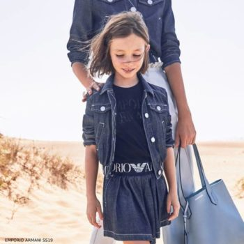 Emporio Armani Girls Mini Me Blue Chambray Logo Jacket Shorts