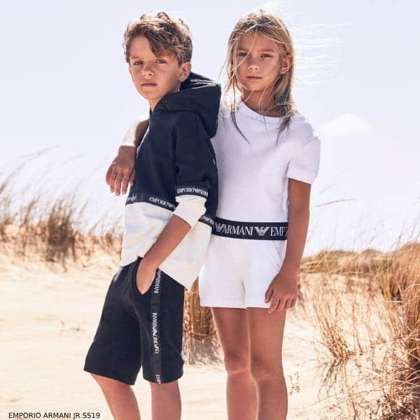 Emporio Armani Girls White Top & Shorts Set Boys Blue White Sweatshirt