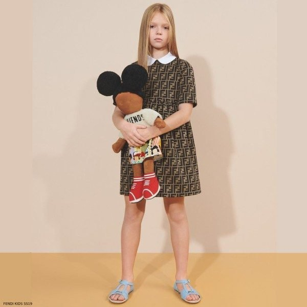 Fendi Girls Mini Me Brown FF Logo Dress Spring Summer 2019