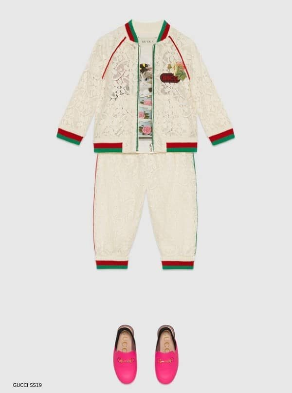 GUCCI BABY GIRL MINI ME IVORY FLOWER-LACE-BOMBER-JACKET JOGGER PANTS SS19