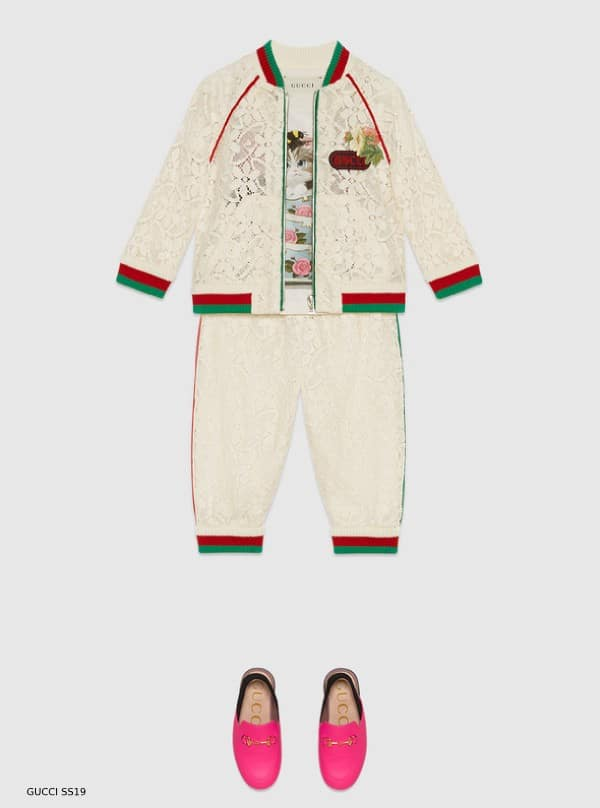 fbaa05a0b GUCCI BABY GIRL MINI ME IVORY FLOWER-LACE-BOMBER-JACKET JOGGER PANTS SS19