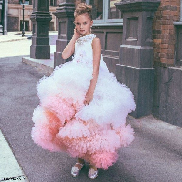Junona Girls Pink & White Tulle Feather Party Dress