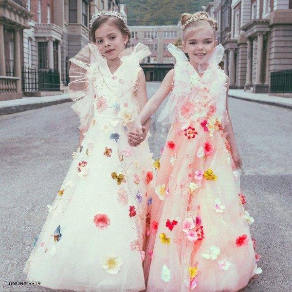 Junona Girls Tulle White & Pink Party Dress & Tiara Set