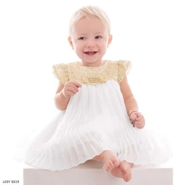 Lesy Baby Girl Luxury White & Gold Lace Chiffon Party Dress