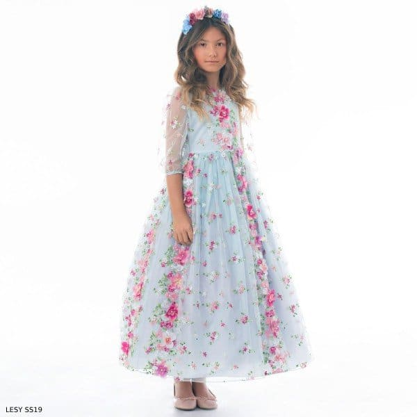 Lesy Girls Blue Floral Long Tulle Party Dress