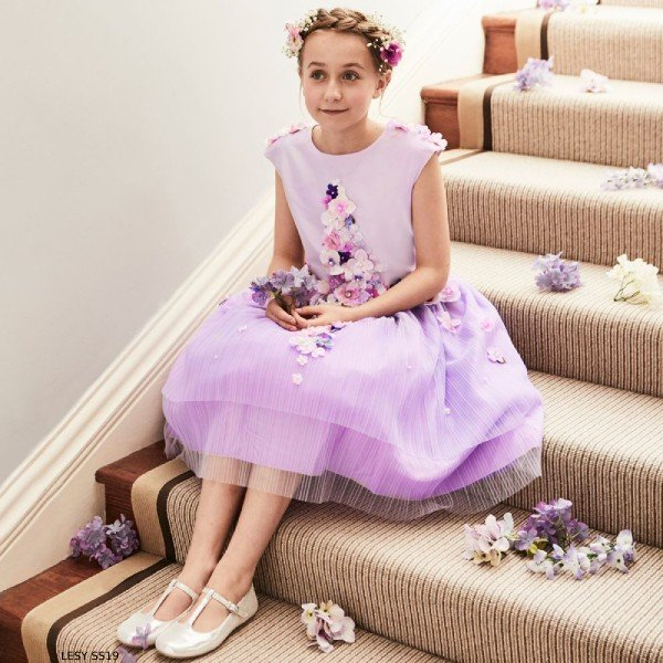 Lesy Girl Luxury Purple Flower Tulle Party Dress
