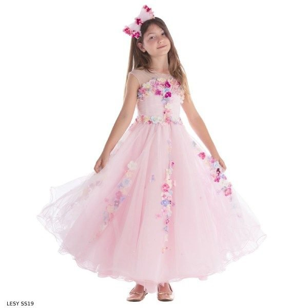 Lesy Girls Luxury Pink Flower Tulle Party Dress