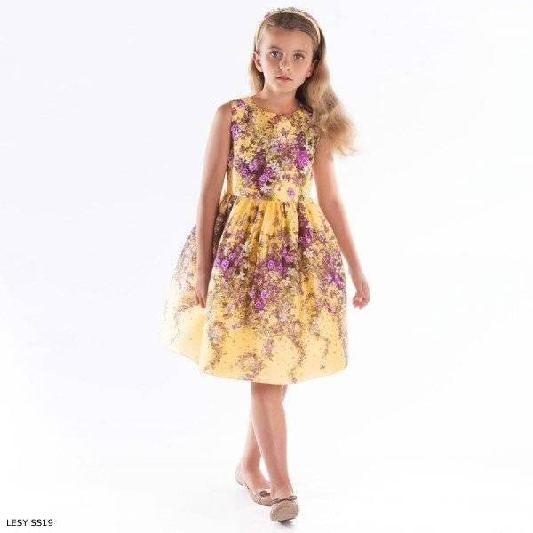 Lesy Girls Luxury Yellow Purple Floral Silk Satin Dress