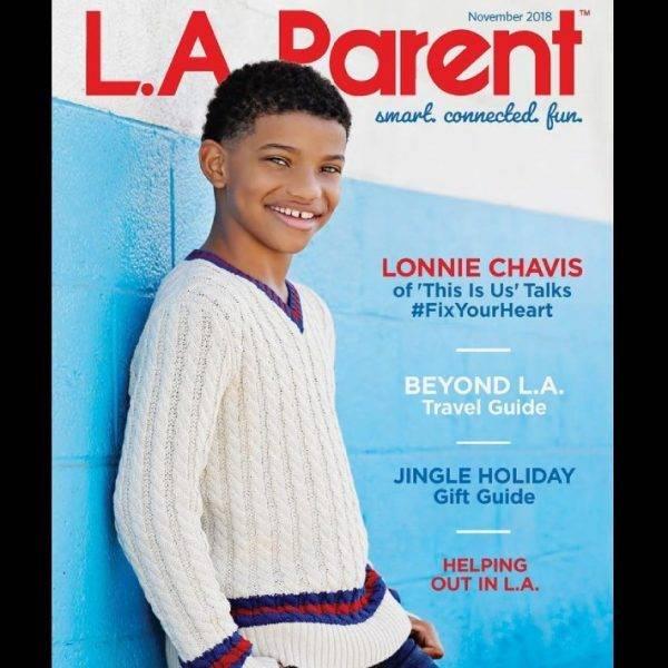 Lonnie Chavis LA Parent Magazine Cover Gucci White Vneck Cable Sweater
