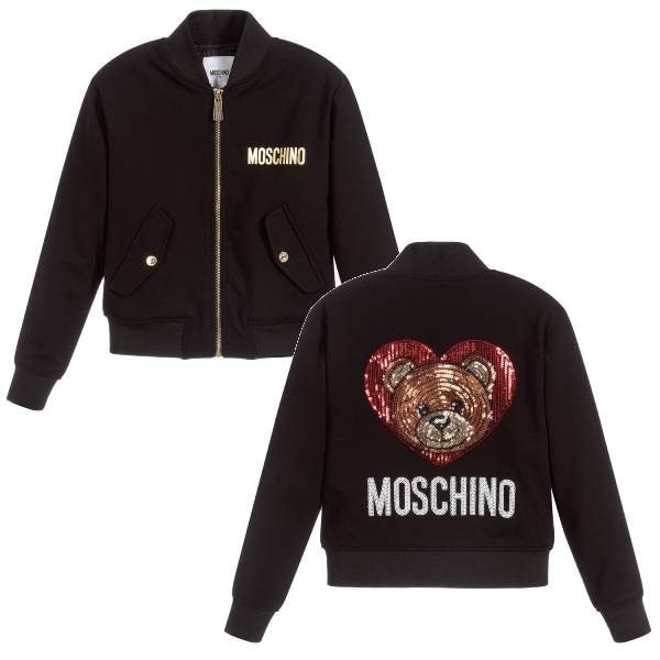 MOSCHINO KID-TEEN Girls Black Jersey Jacket Sequin Teddy