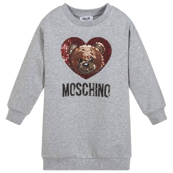 MOSCHINO KID-TEEN Grey Teddy Sequin Sweatshirt Dress