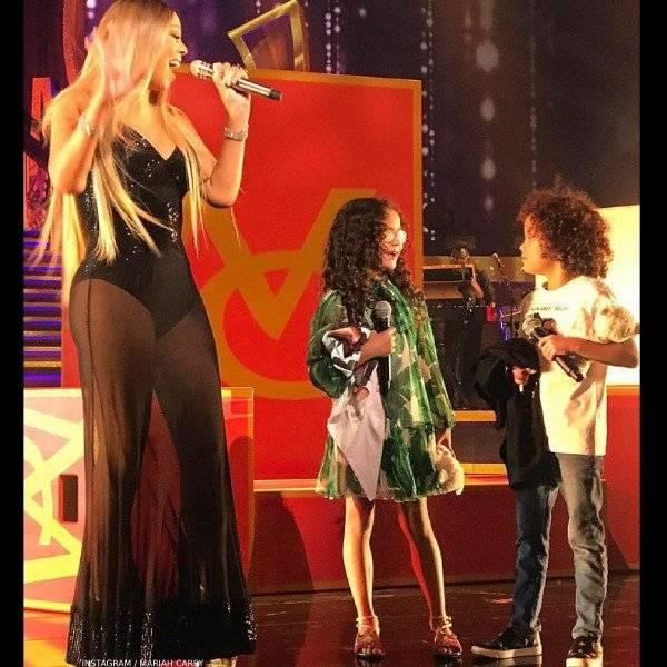 Mariah Carey Monroe Cannon Dolce Gabbana Mini Me Banana Leaf Print Chiffon Dress
