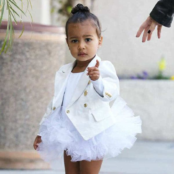 NORTH WEST – BALMAIN KIDS WHITE GIRLS CUSTOM MILITARY JACKET