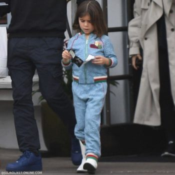 Penelope Disick GUCCI Girls Blue Floral Lace Bomber Jacket & Jogger Pants Santa Barbara CA March 11, 2019