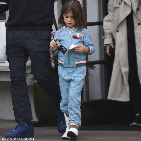 Penelope Disick GUCCI Girls Blue Floral Lace Bomber Jacket & Jogger Pants Santa Barbara CA March 11, 2019
