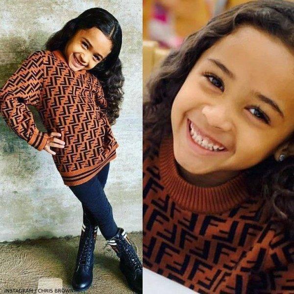 Royalty Brown Daughter of Chris Brown Fendi Brown Cashmere Logo Sweater