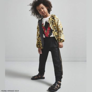 Young Versace Baroque Print Jacket Black Jogger Pants