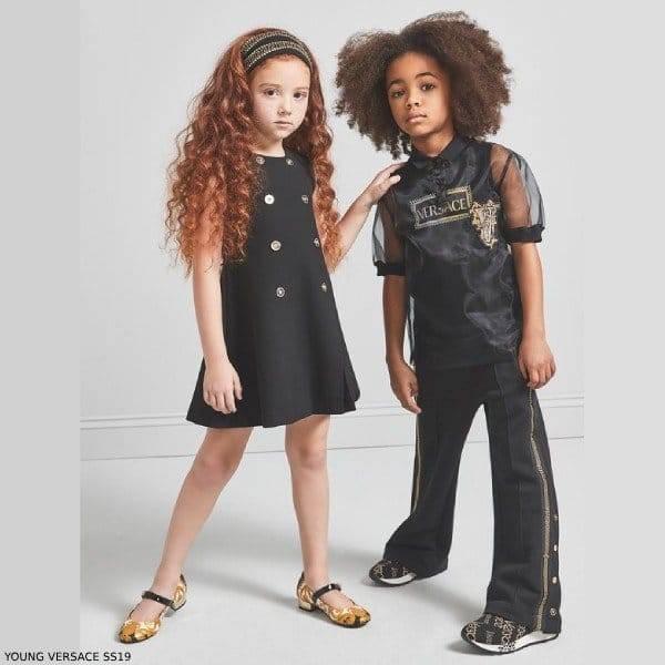 Young Versace Girls Mini Me Black Gold Button Dress